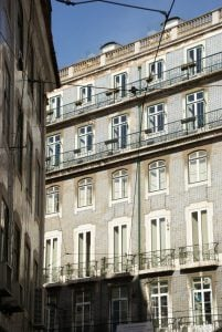 Haus mit glasiert, bemalte Kacheln Azulejos Lissabon